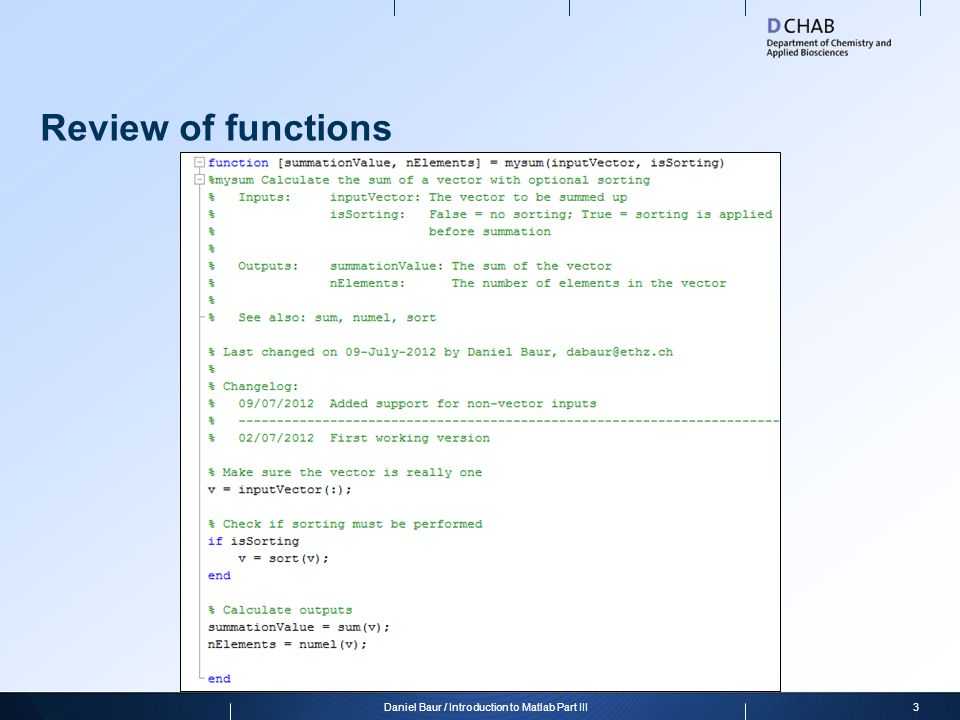 Daniel Baur / Introduction to Matlab Part III