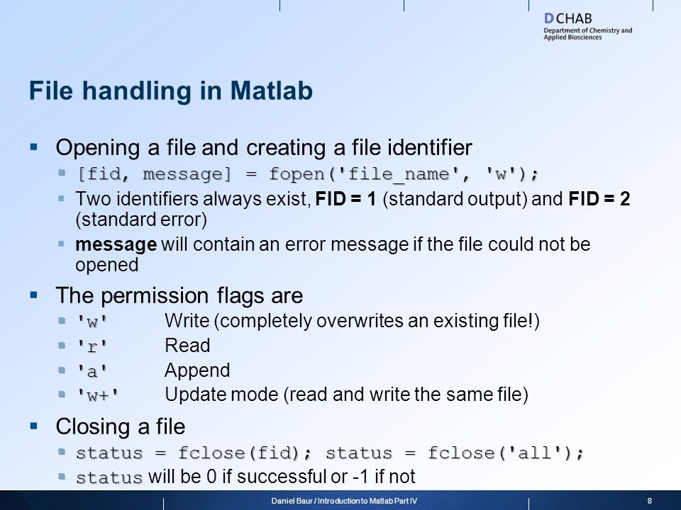 File handling in Matlab