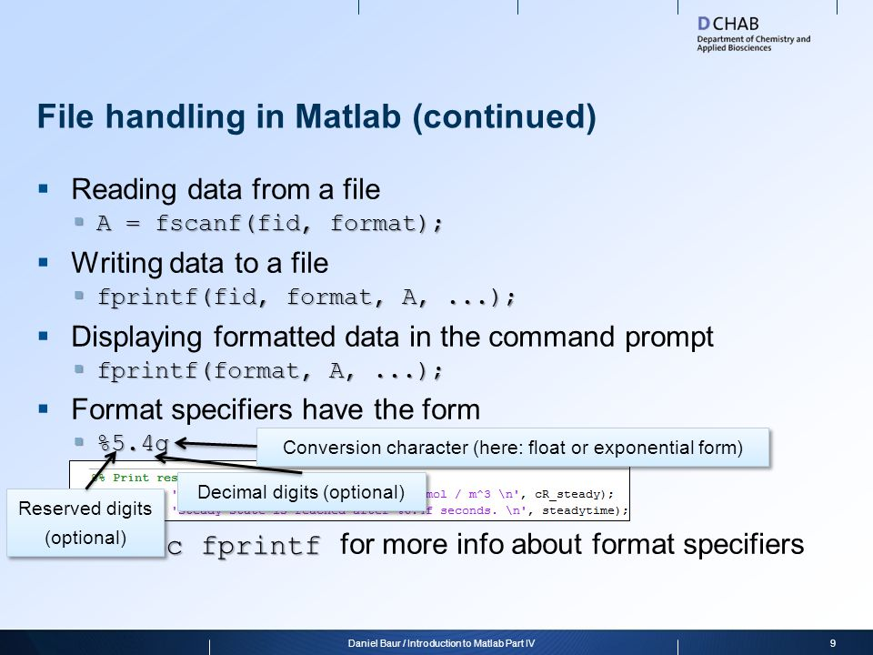 File handling in Matlab (continued)