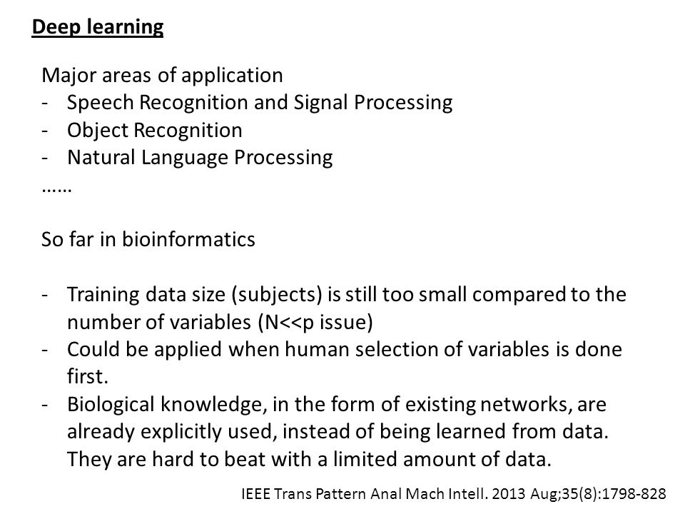 Major areas of application Speech Recognition and Signal Processing
