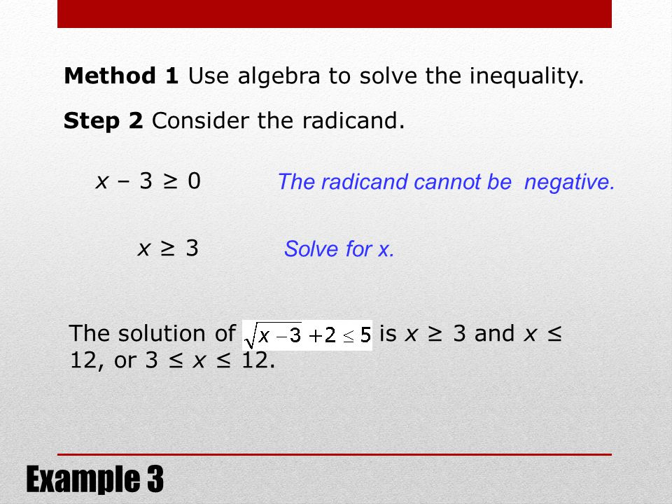Example 3 Method 1 Use algebra to solve the inequality.