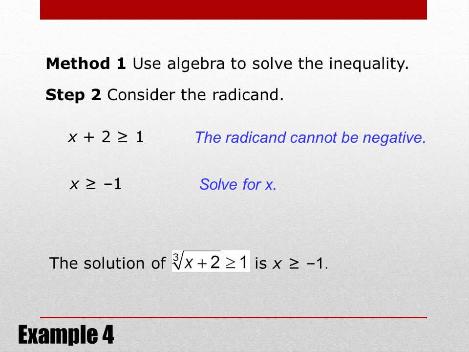 Example 4 Method 1 Use algebra to solve the inequality.