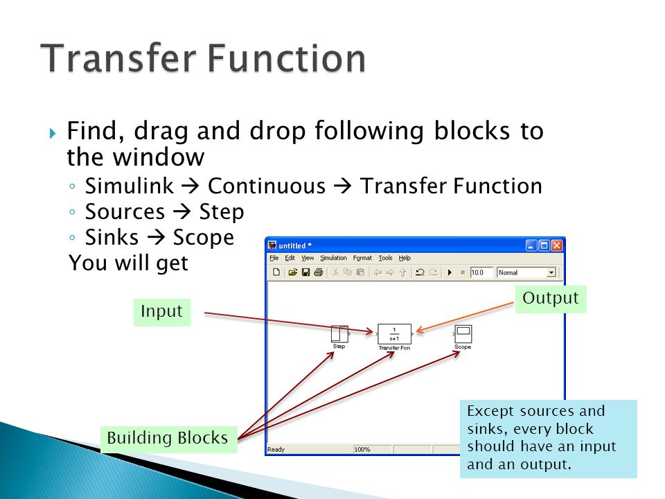 Transfer Function Find, drag and drop following blocks to the window