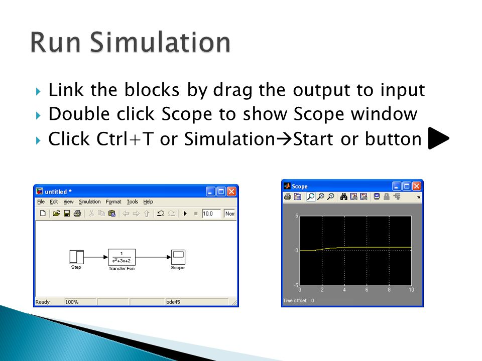 Run Simulation Link the blocks by drag the output to input