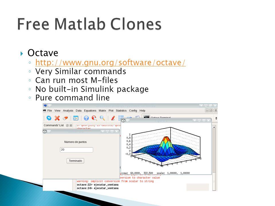 Free Matlab Clones Octave http://www.gnu.org/software/octave/
