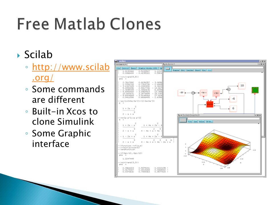 Free Matlab Clones Scilab http://www.scilab .org/