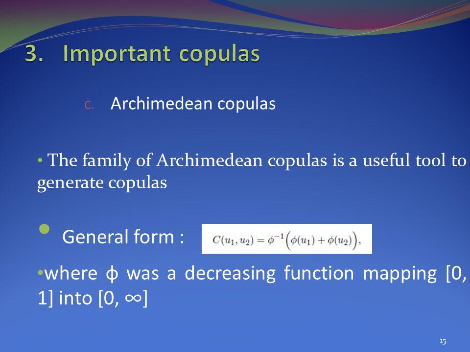 General form : Important copulas