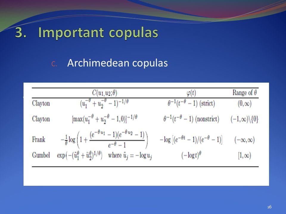 Important copulas Archimedean copulas