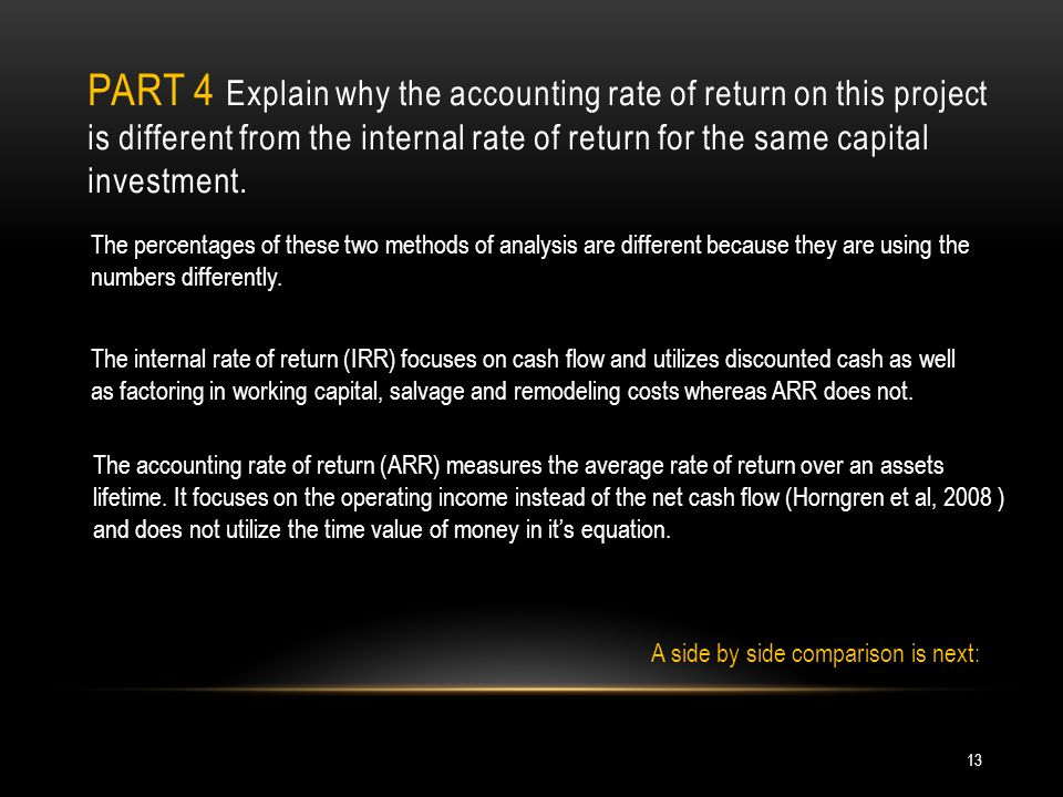 PART 4 Explain why the accounting rate of return on this project is different from the internal rate of return for the same capital investment.