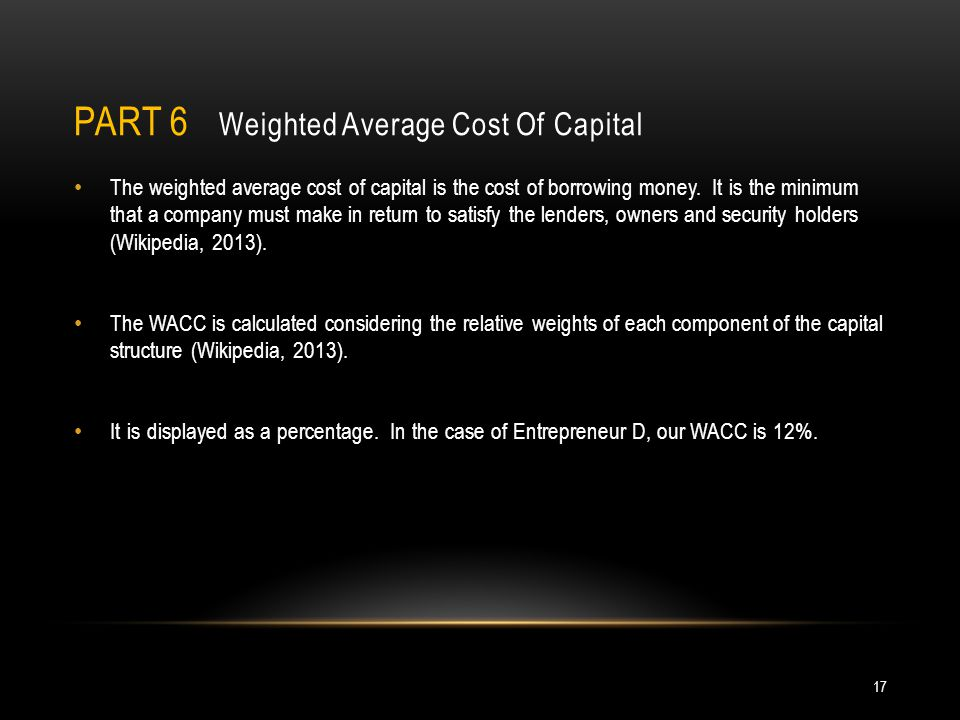 Part 6 Weighted Average Cost Of Capital
