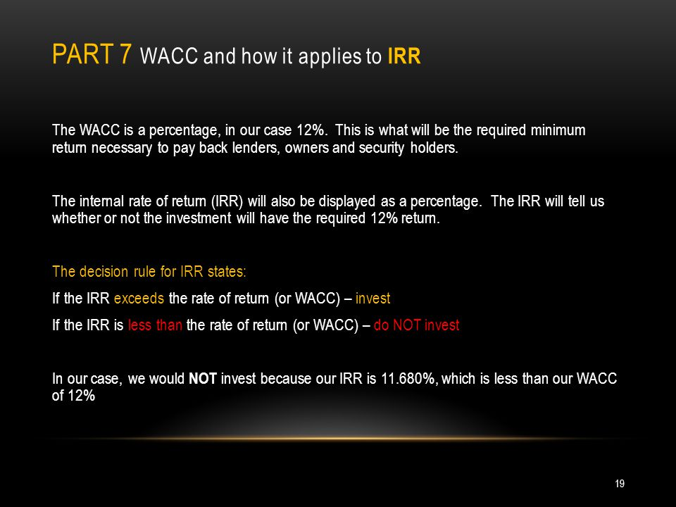 Part 7 WACC and how it applies to IRR