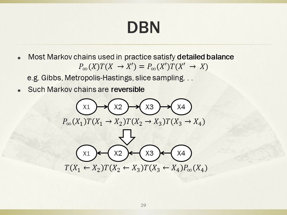 DBN Most Markov chains used in practice satisfy detailed balance