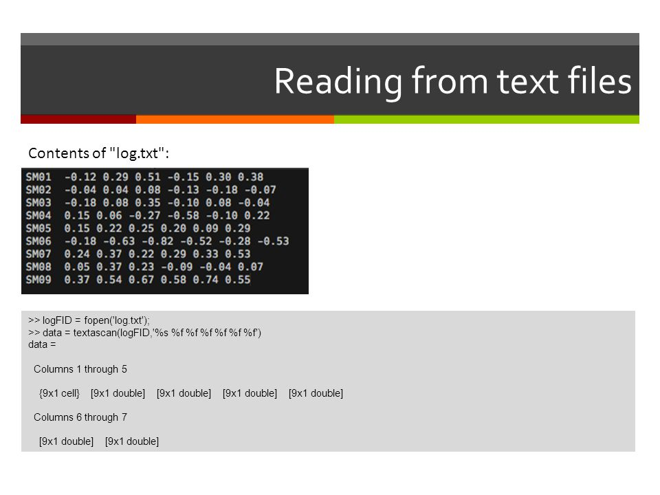 Reading from text files