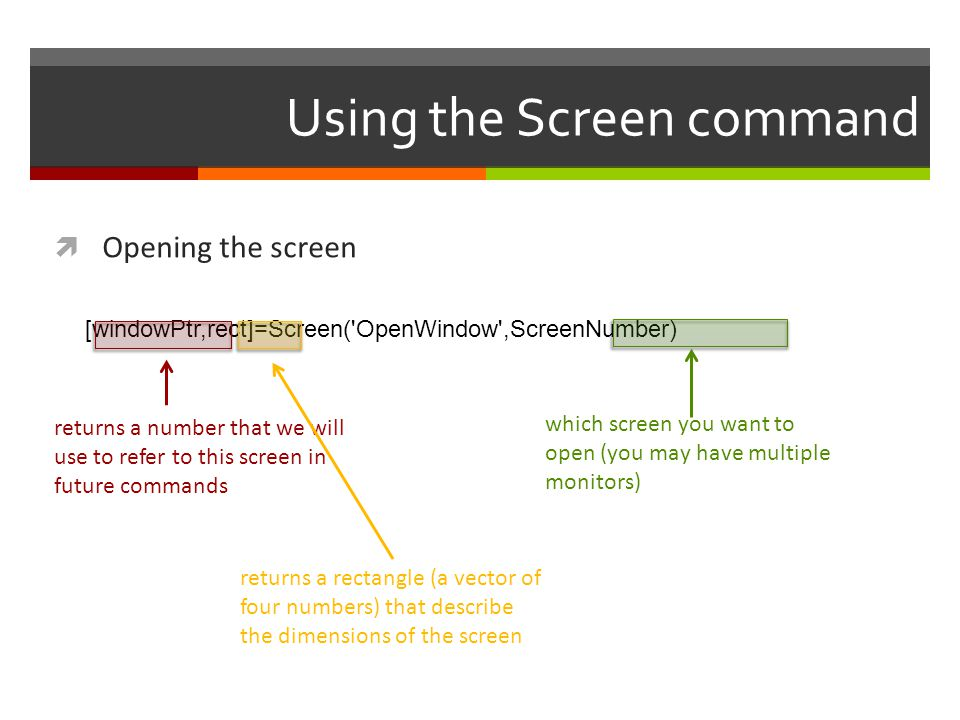 Using the Screen command