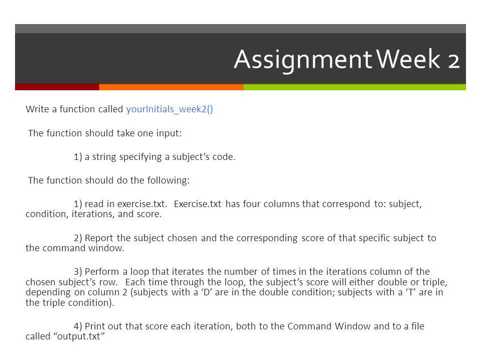 Assignment Week 2