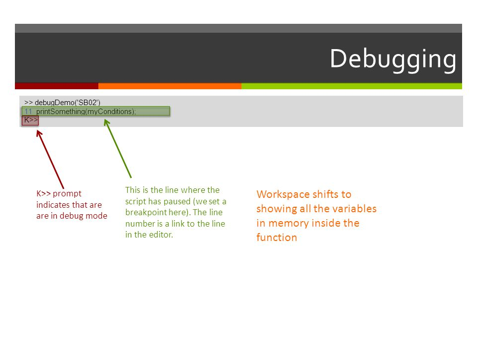 Debugging >> debugDemo( SB02 ) 11 printSomething(myConditions); K>> >> debugDemo( SB02 )