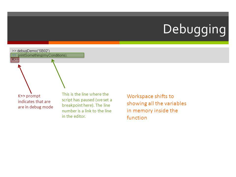Debugging >> debugDemo( SB02 ) 11 printSomething(myConditions); K>> >> debugDemo( SB02 )