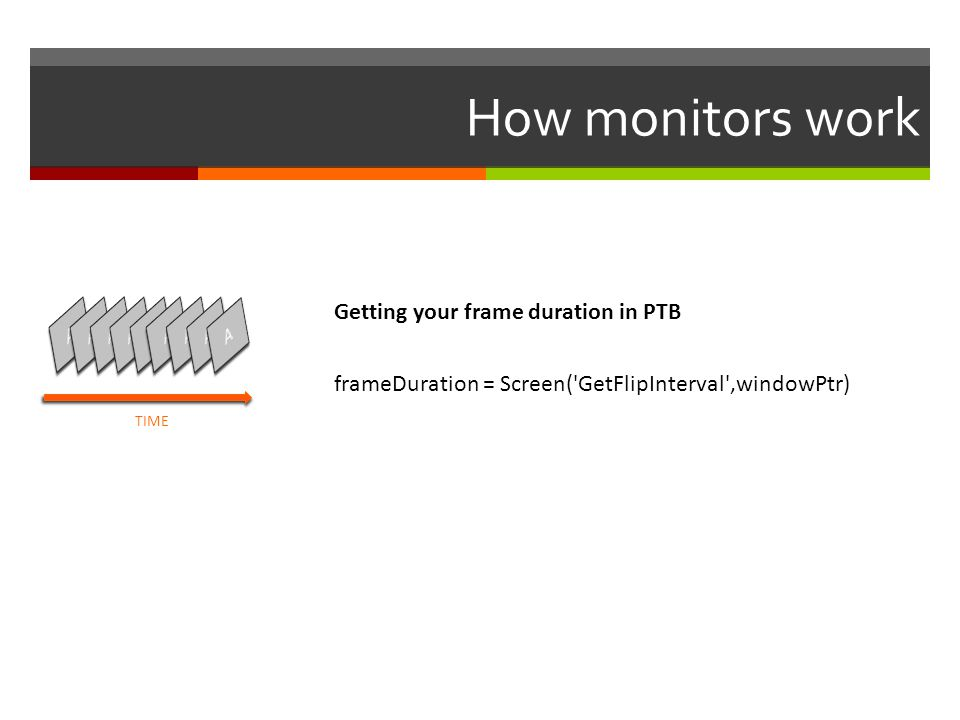 How monitors work Getting your frame duration in PTB A