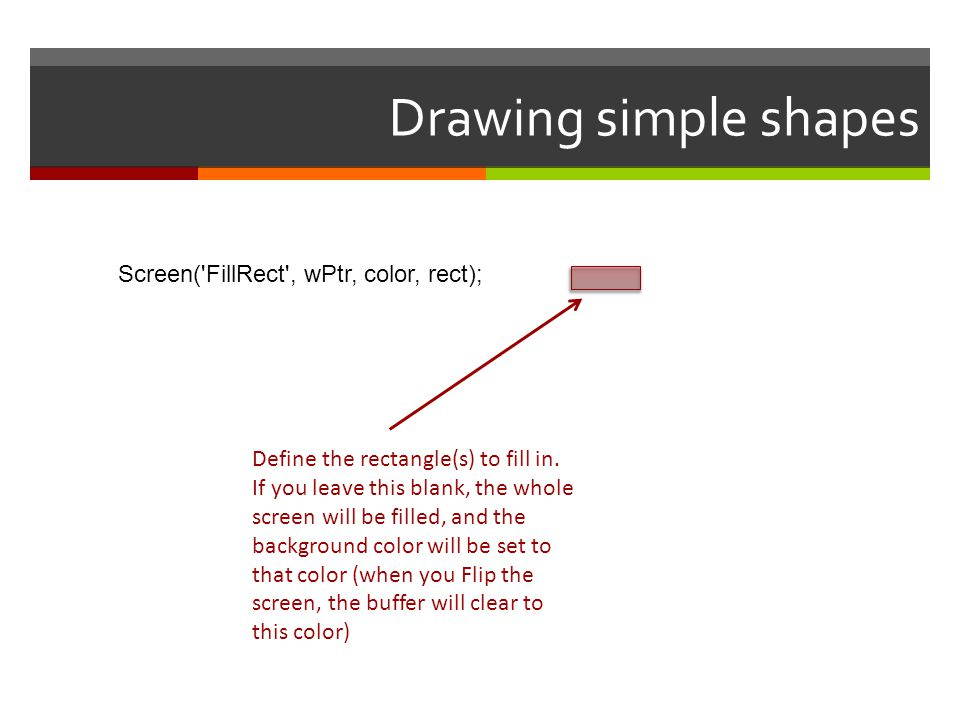 Drawing simple shapes Screen( FillRect , wPtr, color, rect);