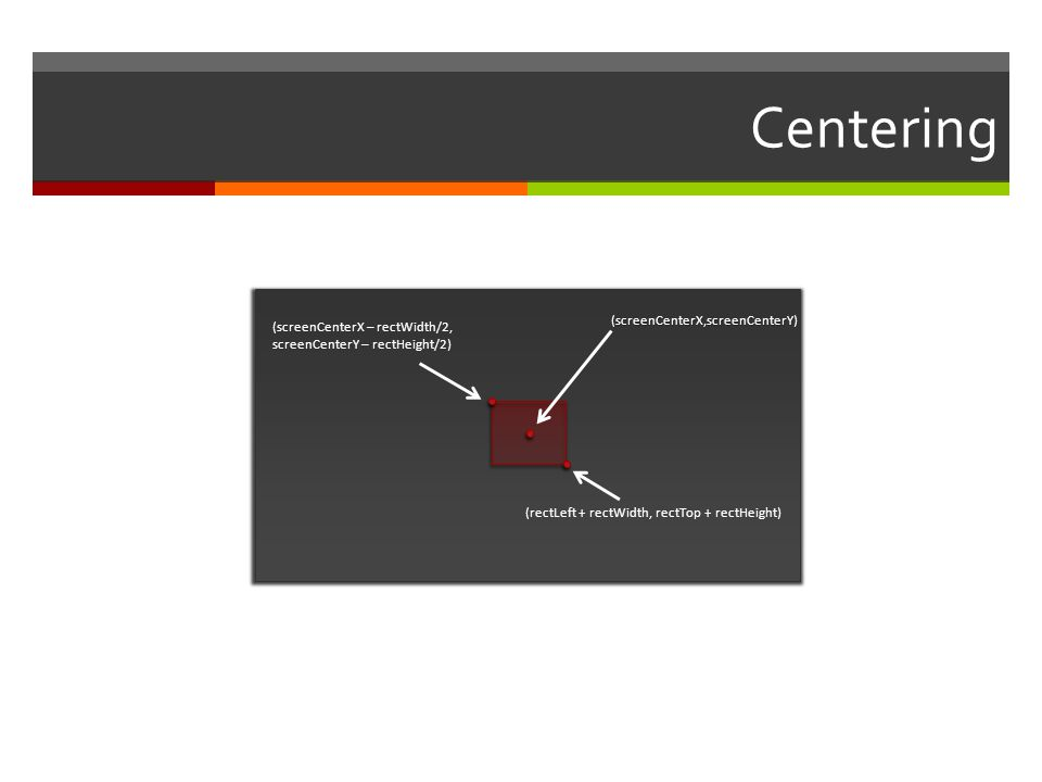 Centering (screenCenterX,screenCenterY)