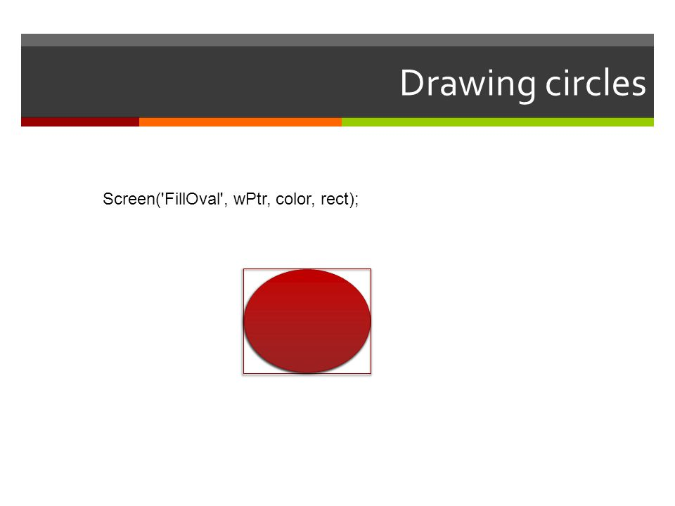 Drawing circles Screen( FillOval , wPtr, color, rect);