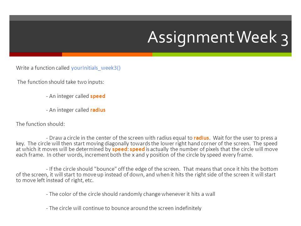 Assignment Week 3