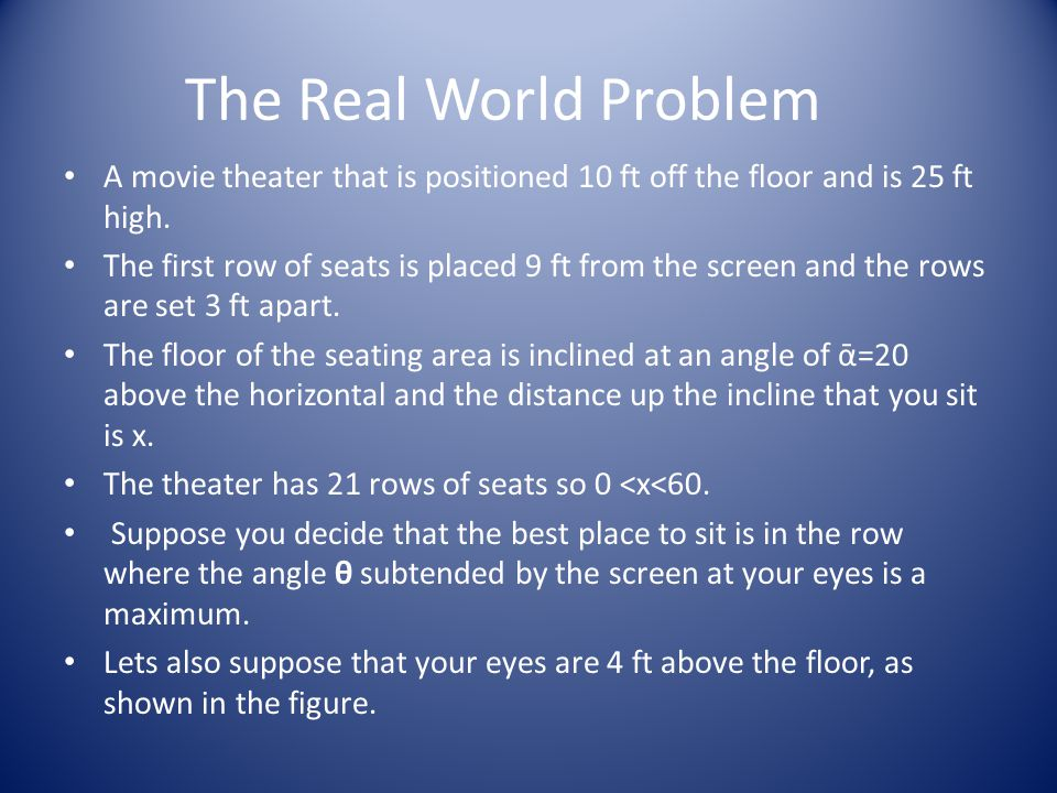 The Real World Problem A movie theater that is positioned 10 ft off the floor and is 25 ft high.