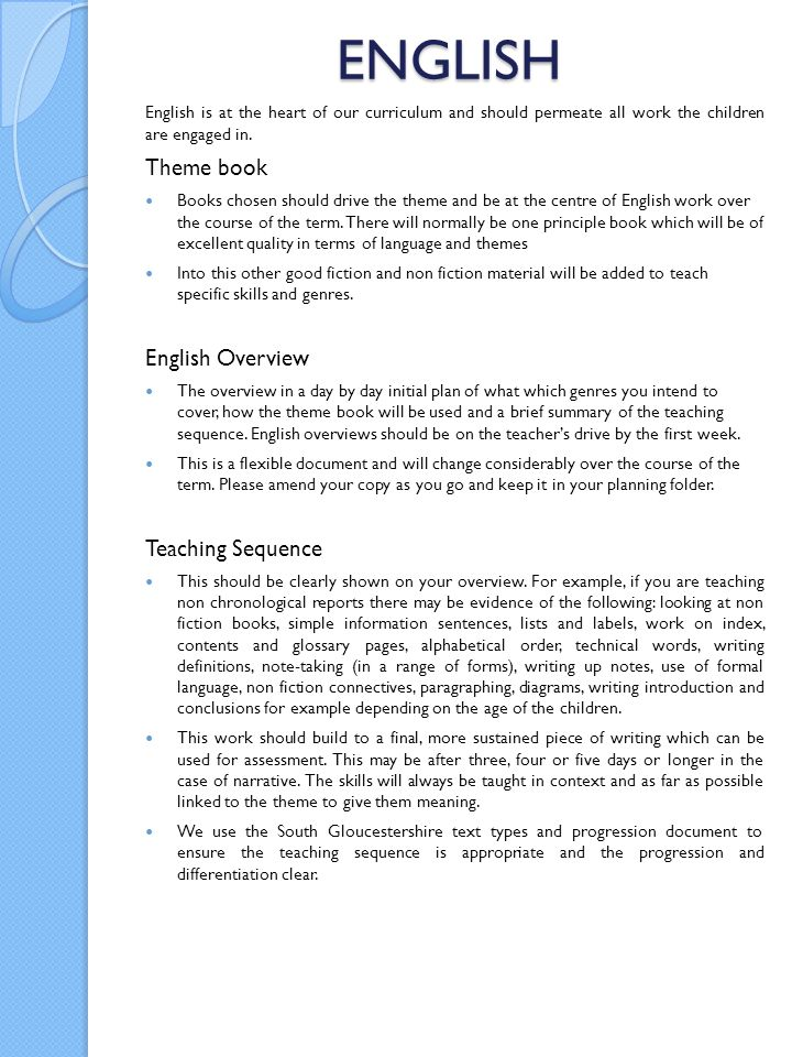 ENGLISH Theme book English Overview Teaching Sequence