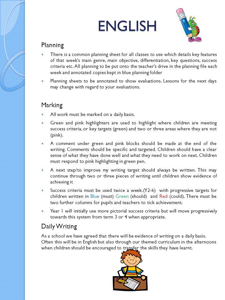 ENGLISH Planning Marking Daily Writing