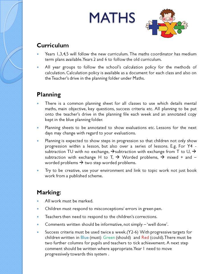MATHS Curriculum Planning Marking: