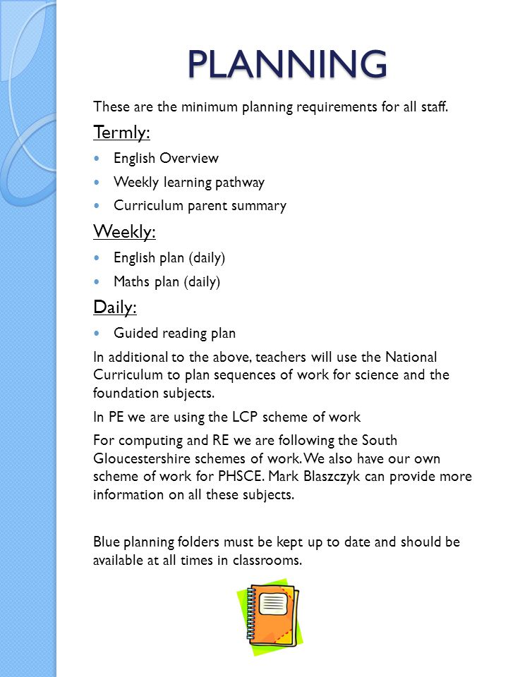 PLANNING Termly: Weekly: Daily: