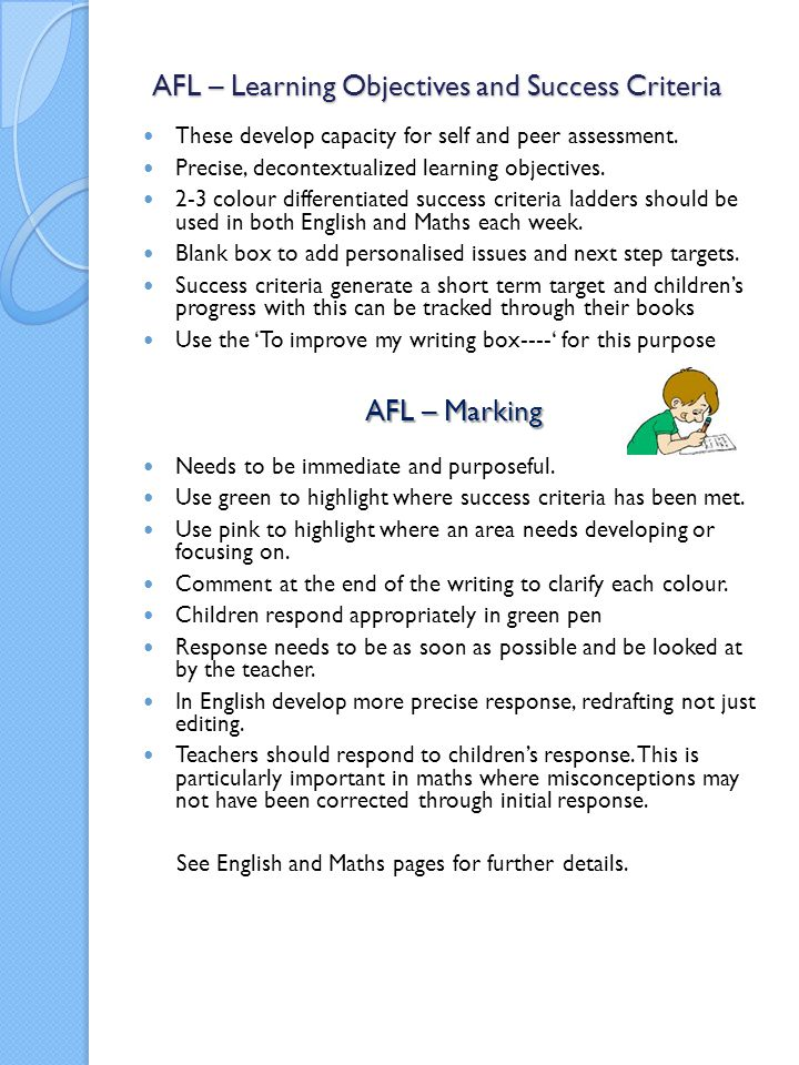 AFL – Learning Objectives and Success Criteria
