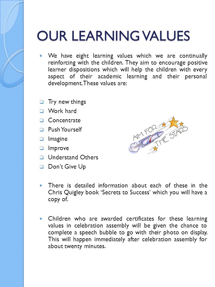 OUR LEARNING VALUES