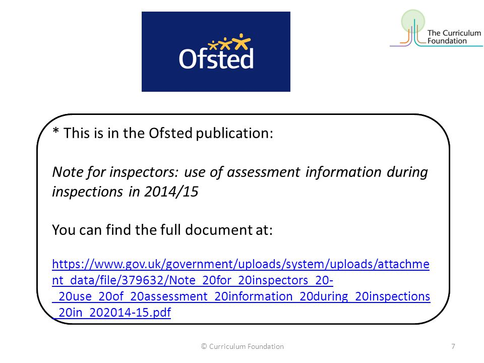 Ofsted* reminds us that: