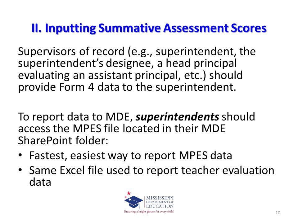 II. Inputting Summative Assessment Scores