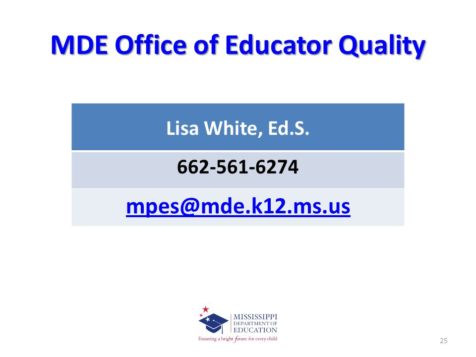 MDE Office of Educator Quality