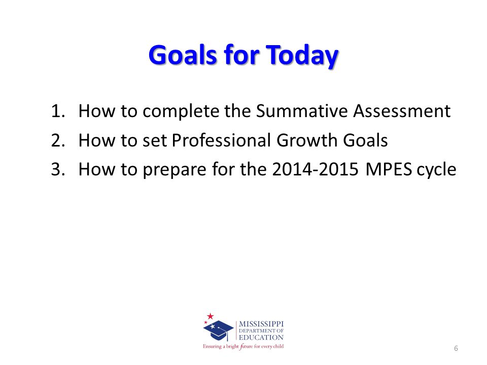 Goals for Today How to complete the Summative Assessment