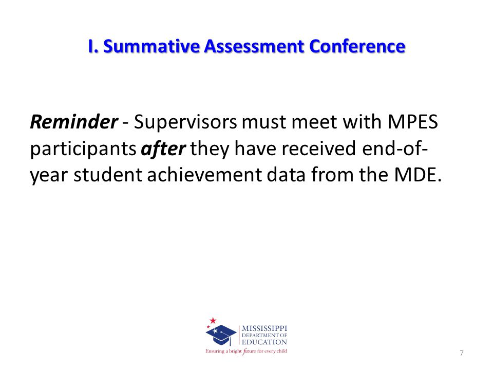 I. Summative Assessment Conference