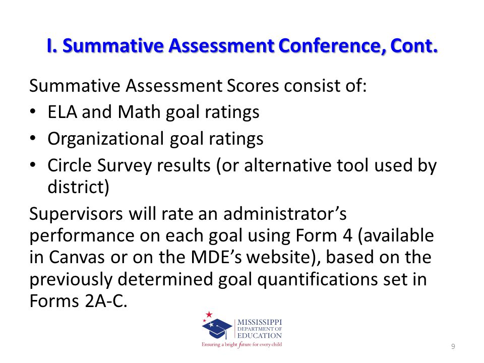 I. Summative Assessment Conference, Cont.