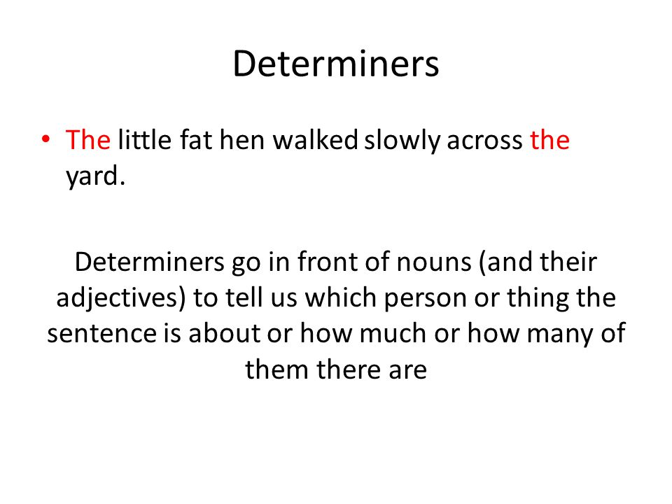 Determiners The little fat hen walked slowly across the yard.