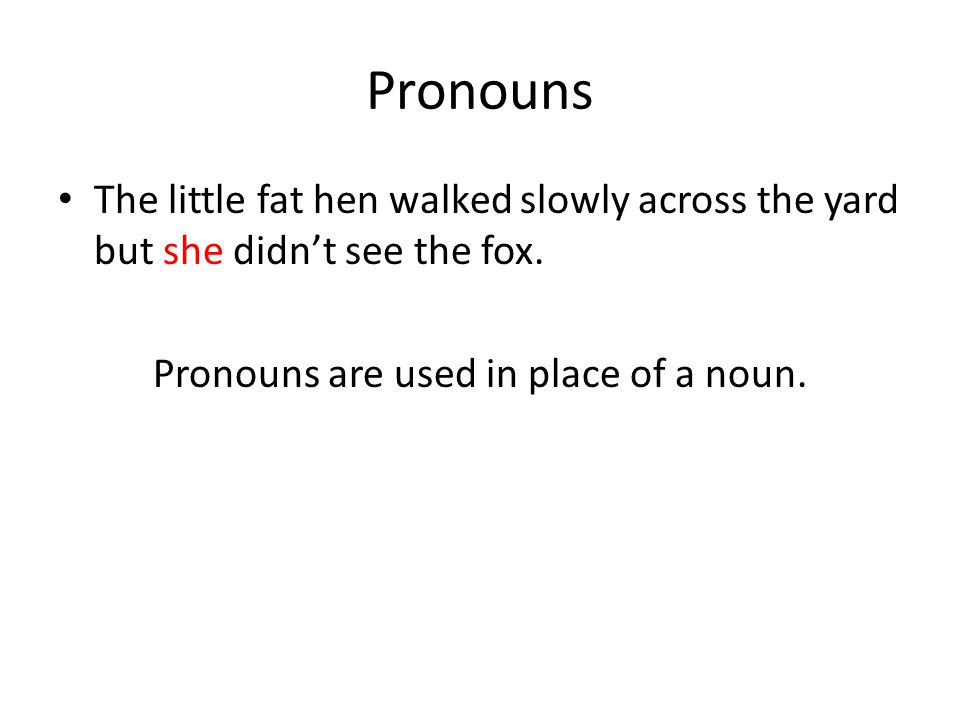 Pronouns are used in place of a noun.