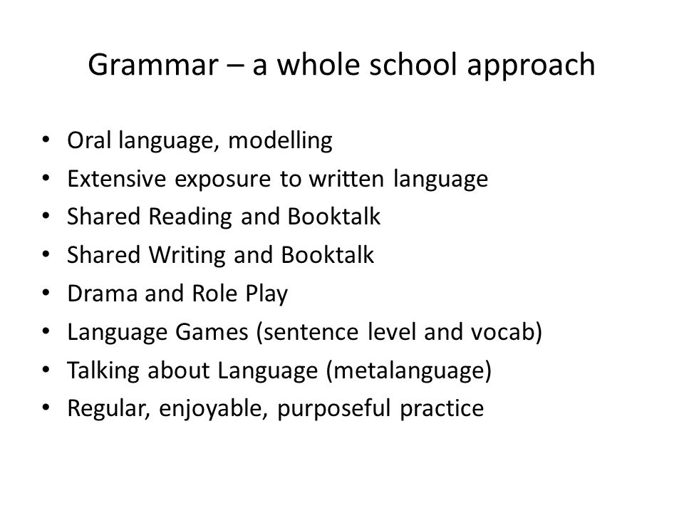 Grammar – a whole school approach