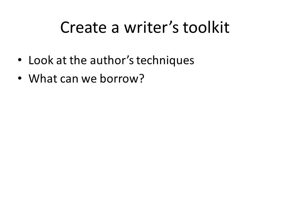 Create a writer's toolkit
