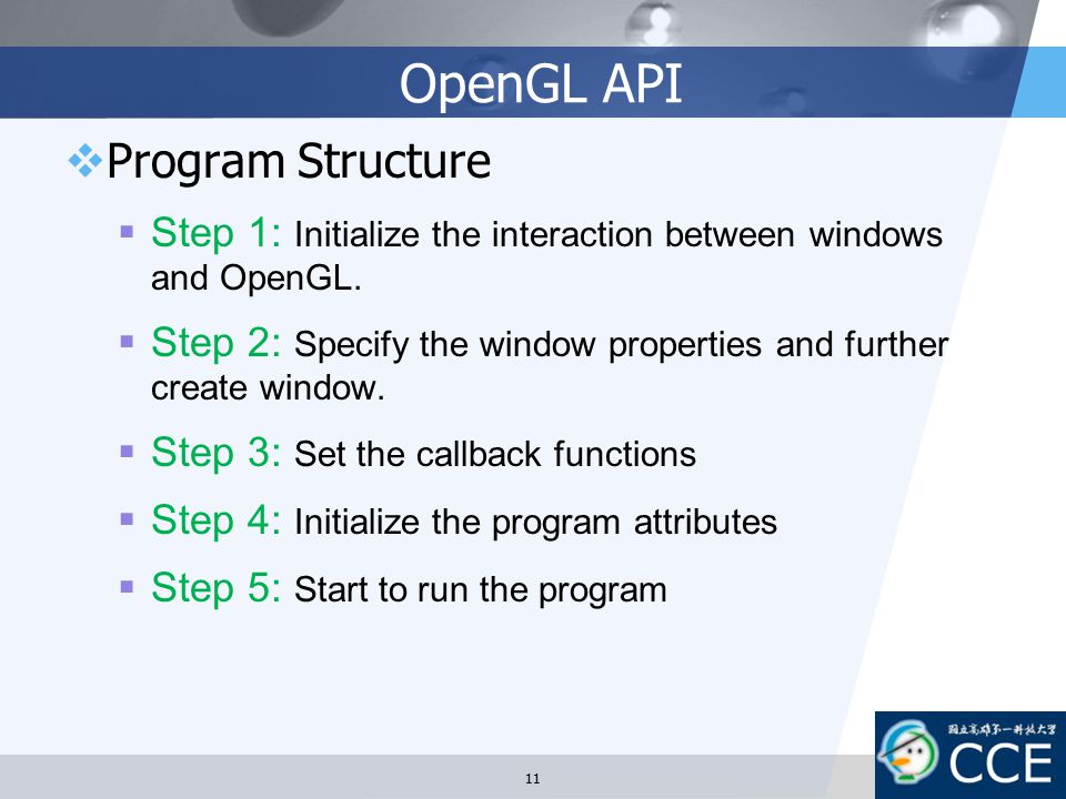 OpenGL API Program Structure