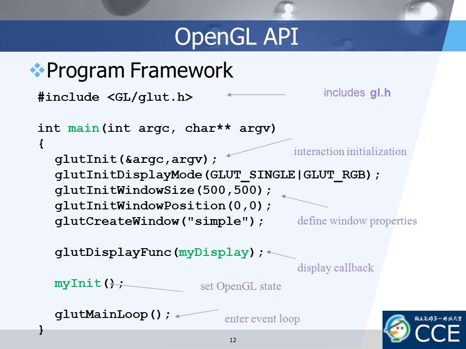 OpenGL API Program Framework #include <GL/glut.h>