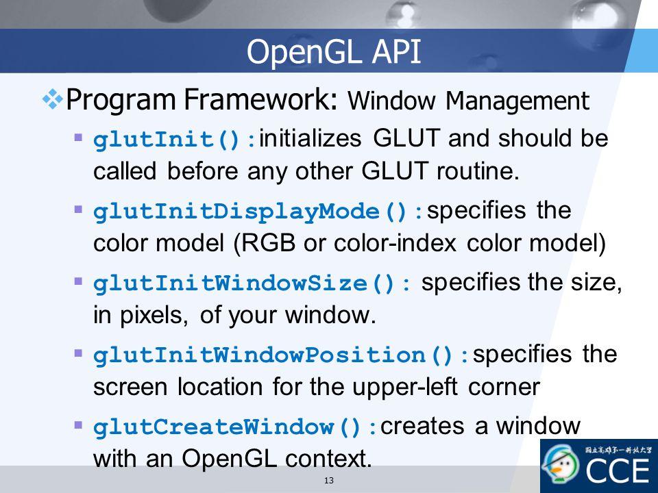 OpenGL API Program Framework: Window Management