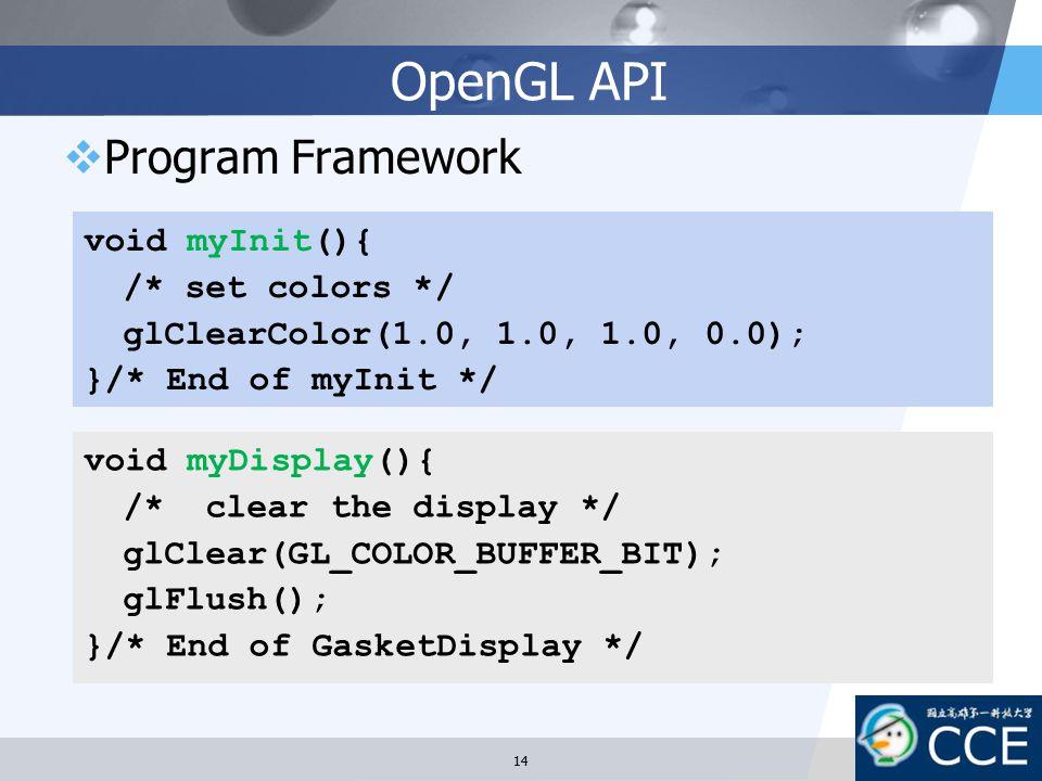 OpenGL API Program Framework void myInit(){ /* set colors */