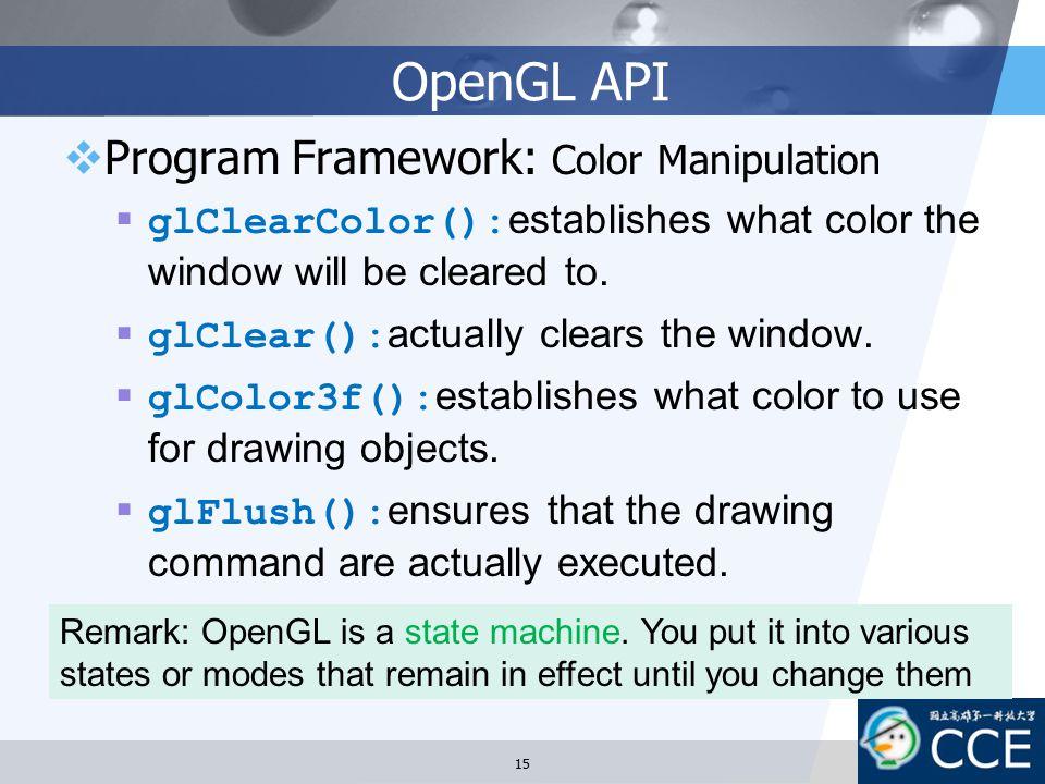 OpenGL API Program Framework: Color Manipulation