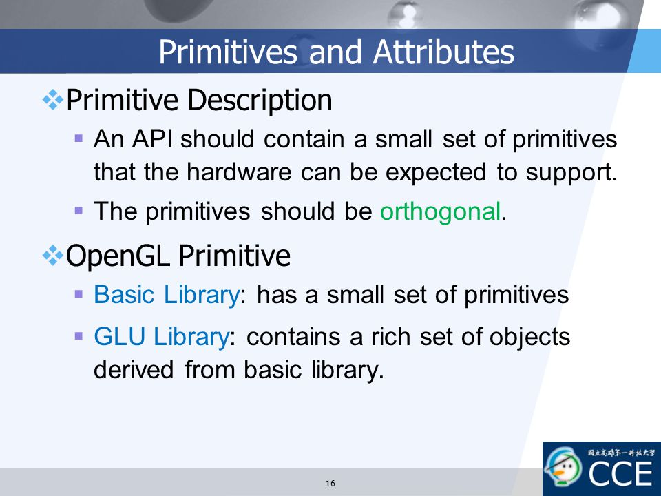 Primitives and Attributes
