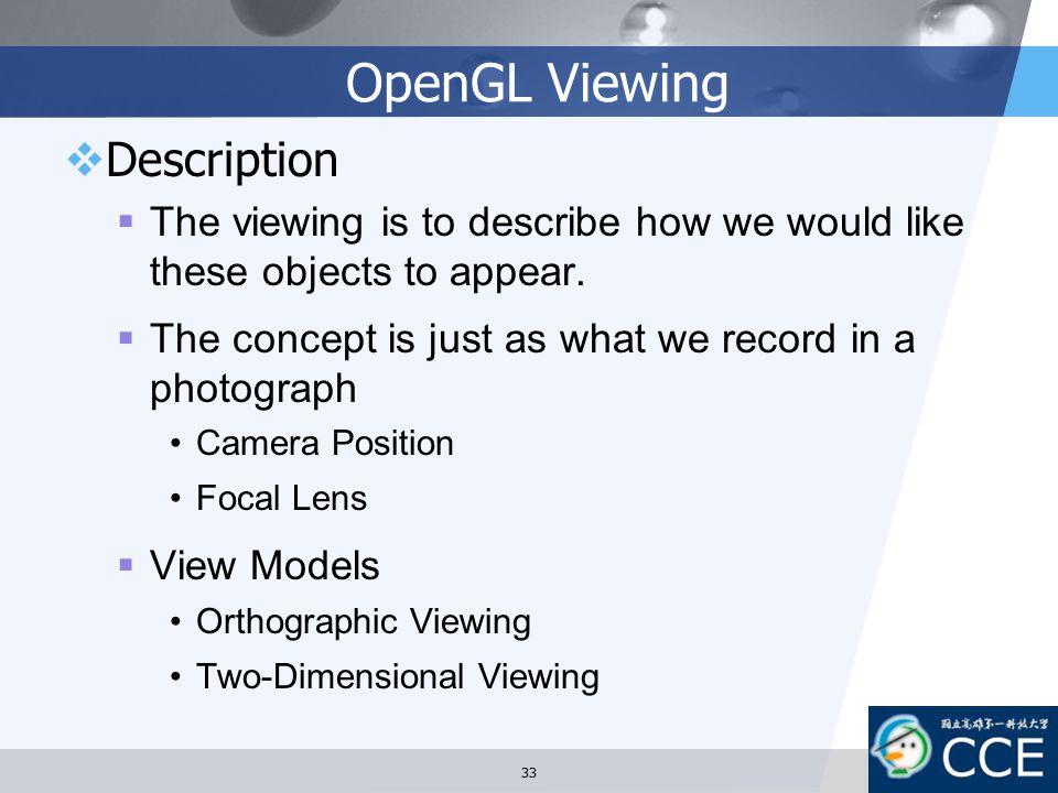 OpenGL Viewing Description